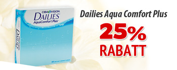 25% rabatt på Dailies AquaComfort Plus 90p!