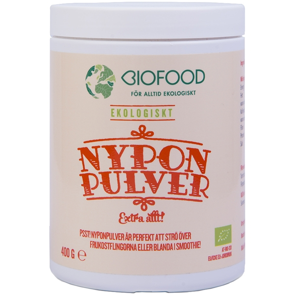 Biofood nyponpulver hela nyponet 400 gram