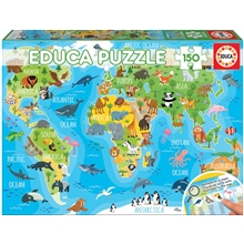 Puslespill 150 Deler World Map Animals